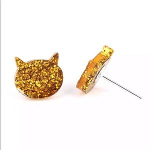 Jewelry - 2 for $18❤️ Gold Kitten Glitter and Resin Studs